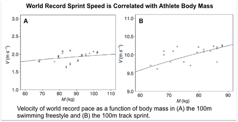 Velocity of world record pace as a function of body mass in (A) the 100m swimming freestyle and (B) the 100m track sprint.