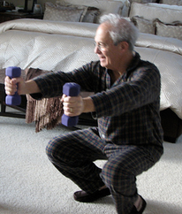 old man elderly lifting weights