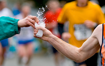 Boston marathon runner gets hydrated