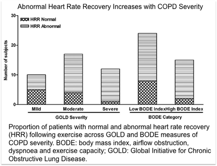 Proportion of patients with normal and abnormal heart rate recovery (HRR) following exercise across GOLD and BODE measures of COPD severity. BODE: body mass index, airflow obstruction, dyspnoea and exercise capacity; GOLD: Global Initiative for Chronic Obstructive Lung Disease.