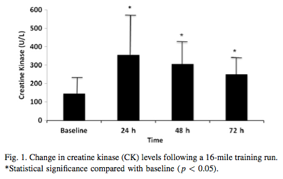 Creatine kinase levels following a long run